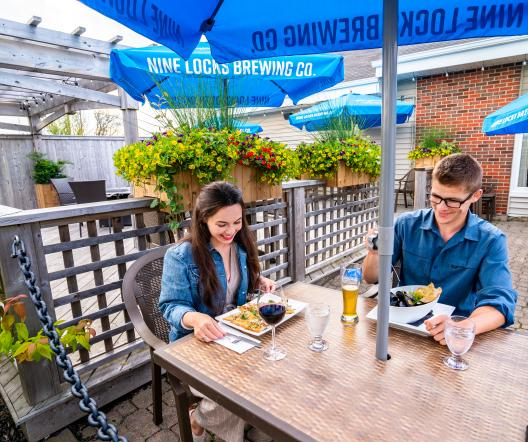 couple dining on patio